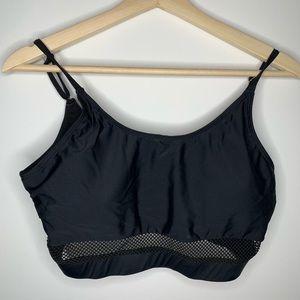 Mesh band black bathing suit top
